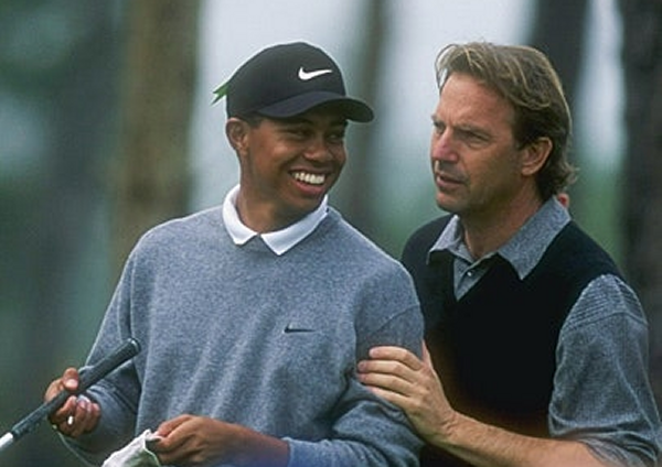 Kevin Costner and Tiger at Pebble Beach