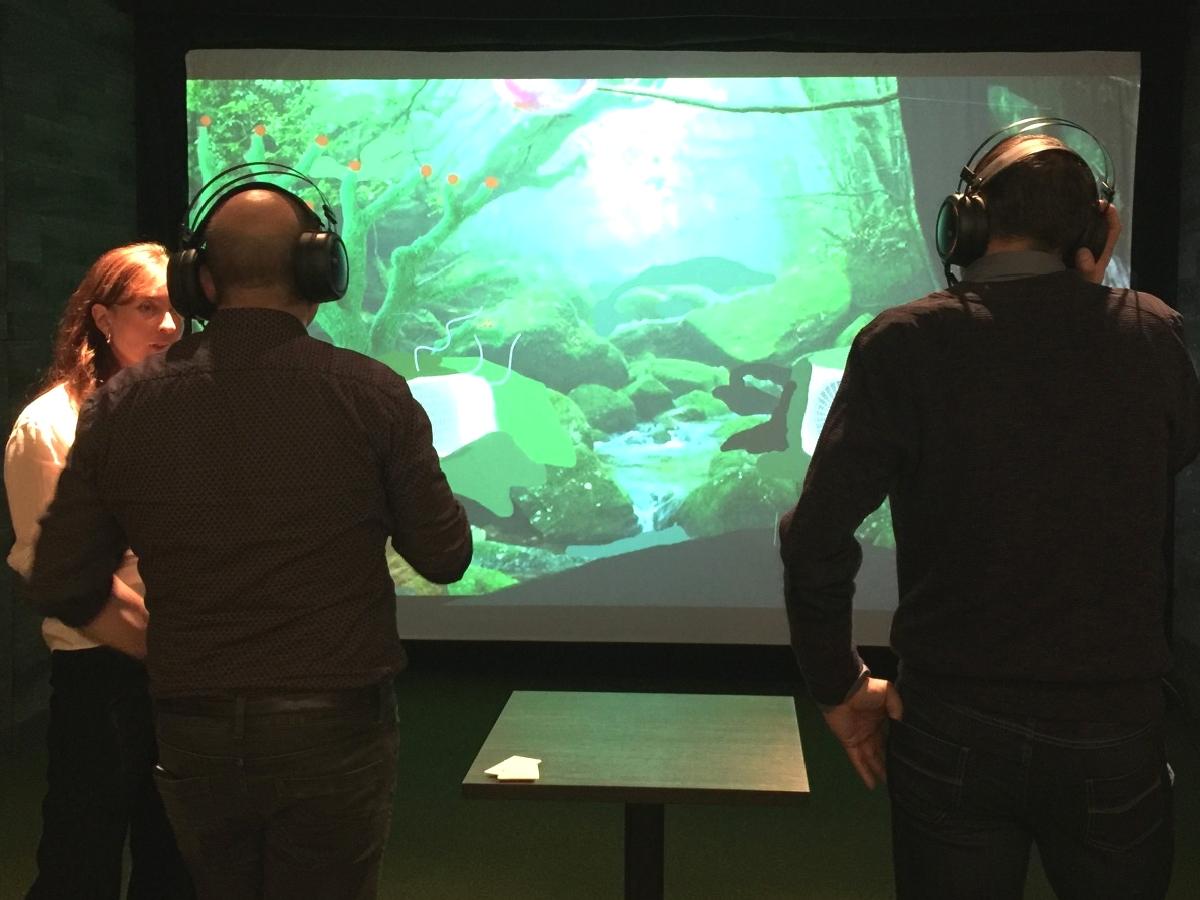 événement d'entreprise avec animation visuel sur écran géant