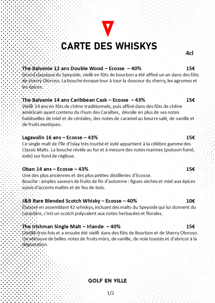 Carte des whiskys golf en ville