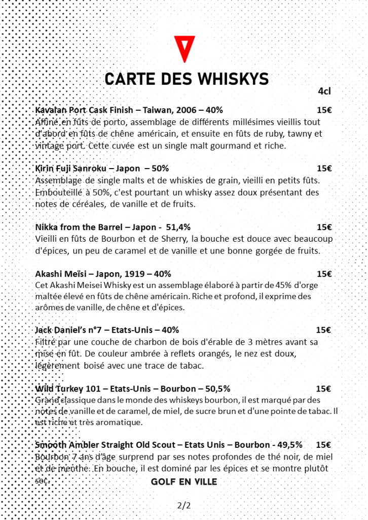 Carte des whiskys golf en ville page2