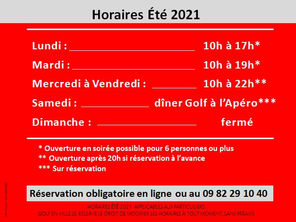 Horaires Golf en Ville été 2021